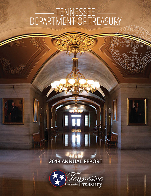 Cover of 2018 Treasurer's Report, view from inside Tennessee State Capitol