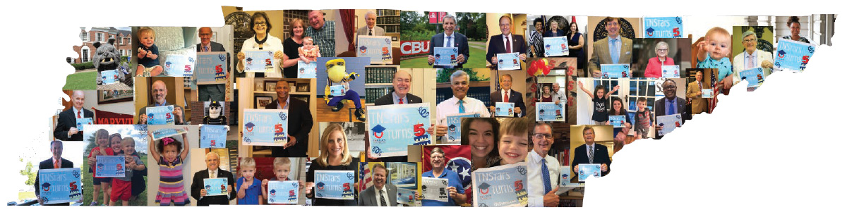 Collage of citizens and representatives holding up TNStars 5-year anniversary signs, collage in shape of the state of Tennessee