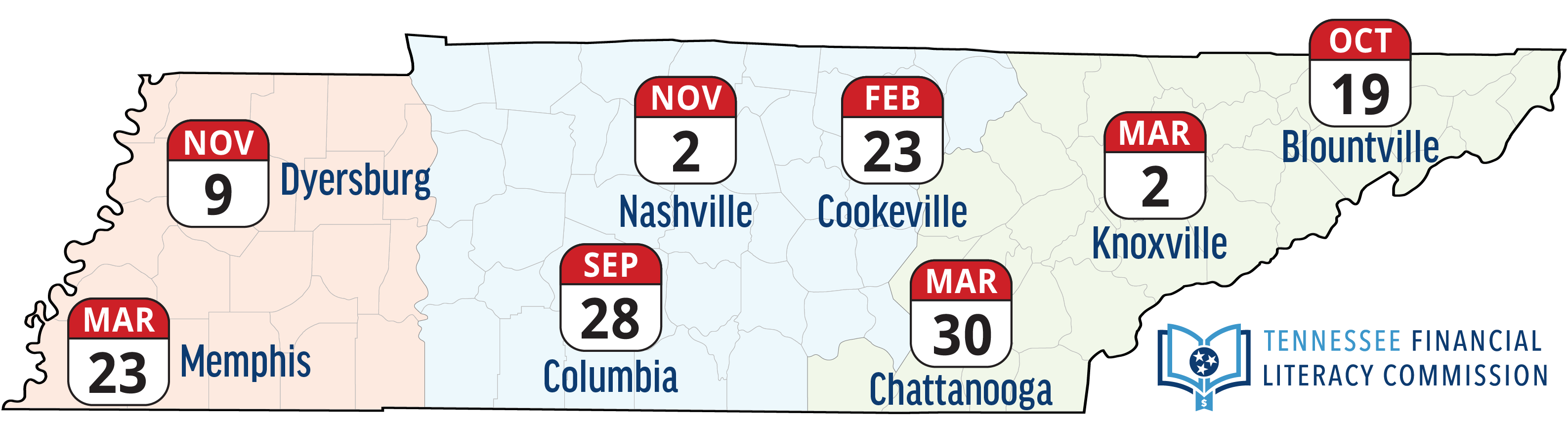 Map of Tennessee showing locations of 2019 educator summits