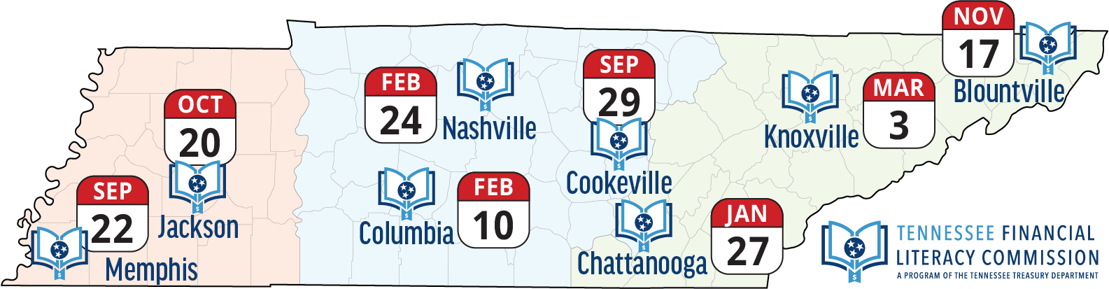 Map of Tennessee showing locations of 2018 educator summits