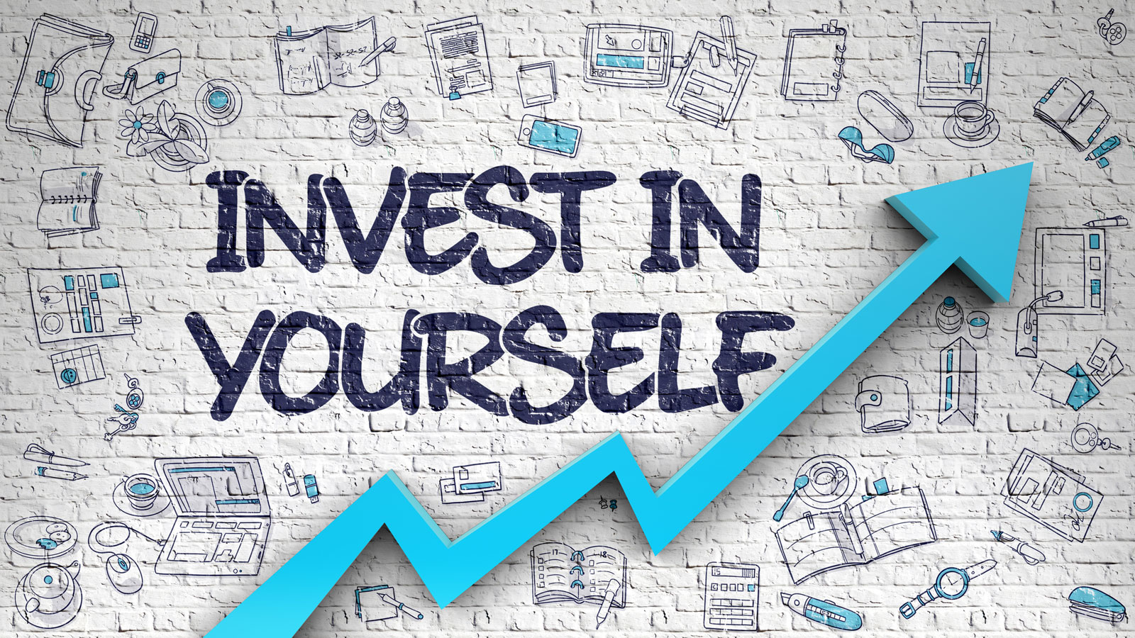 Invest in Yourself message on brick background with upward trend chart and social financial icons