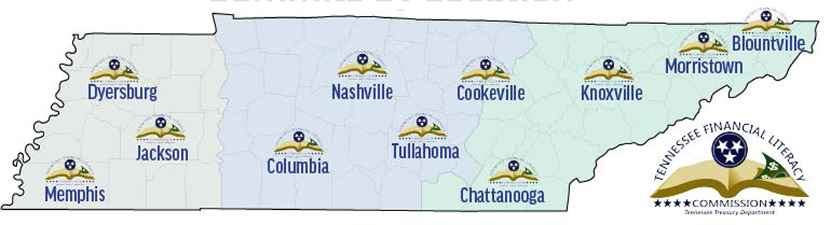 Map of Tennessee showing locations of 2017 educator summits
