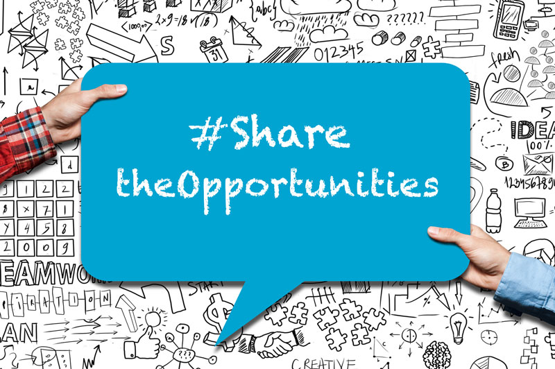 sign with #SharetheOpportunities in chalk