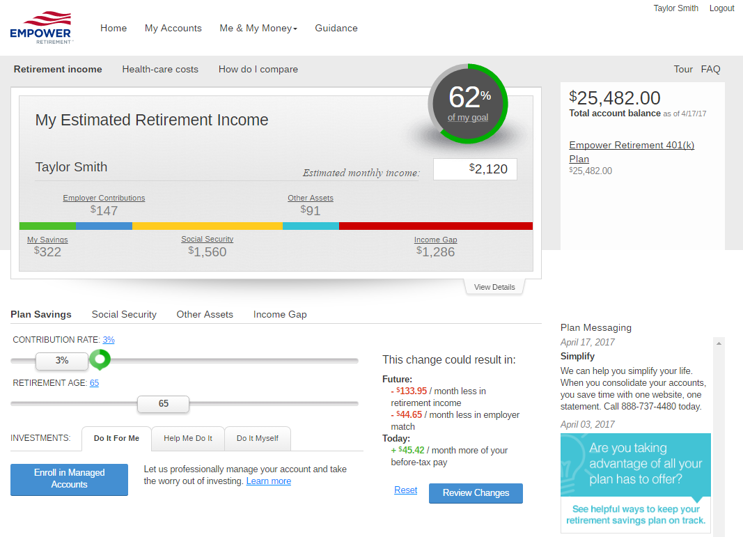 RetireReadyTN sample retirement dashboard