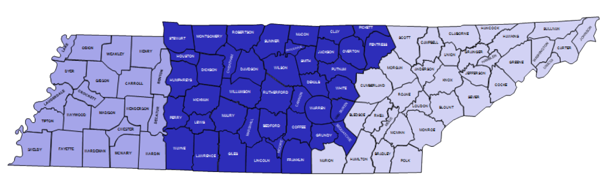 Tennessee map of counties and regions