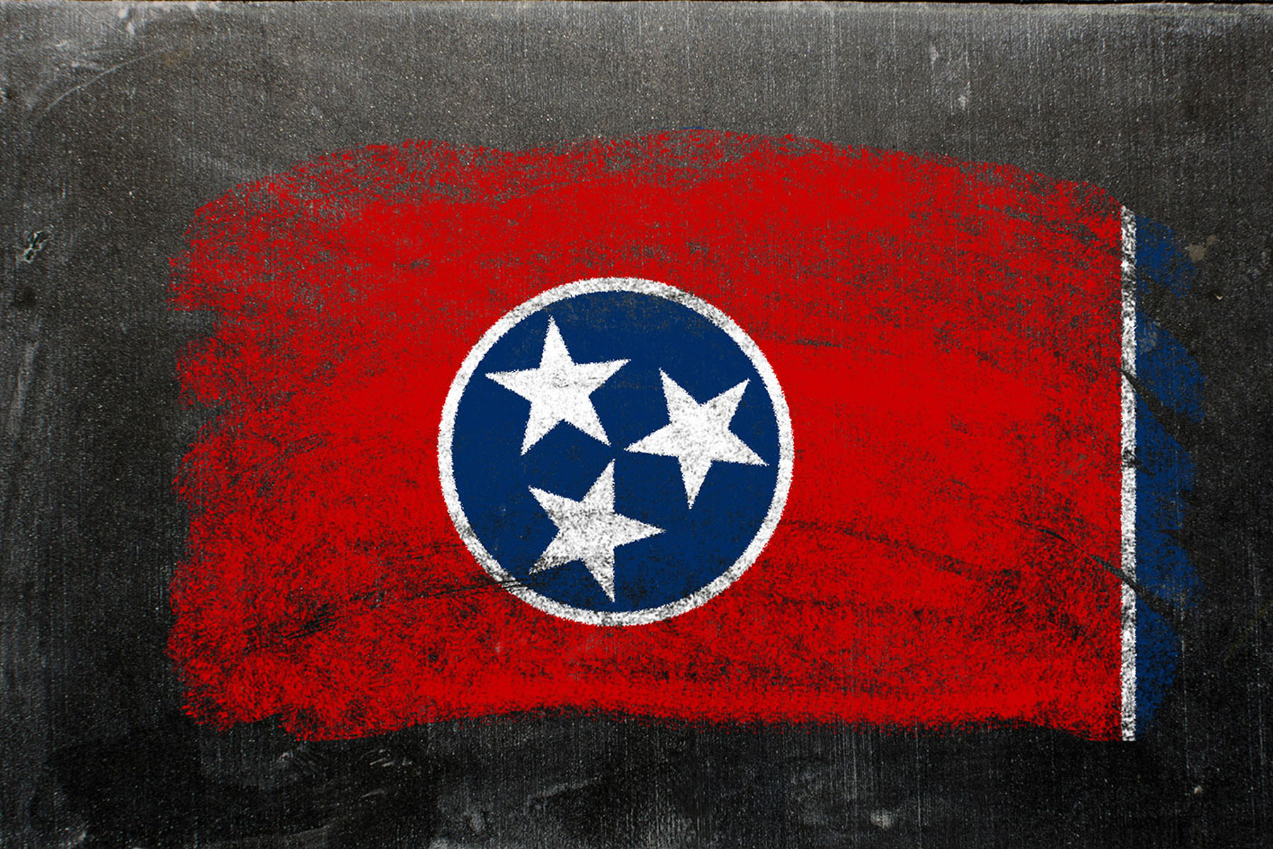 chalkboard with Tennessee state flag