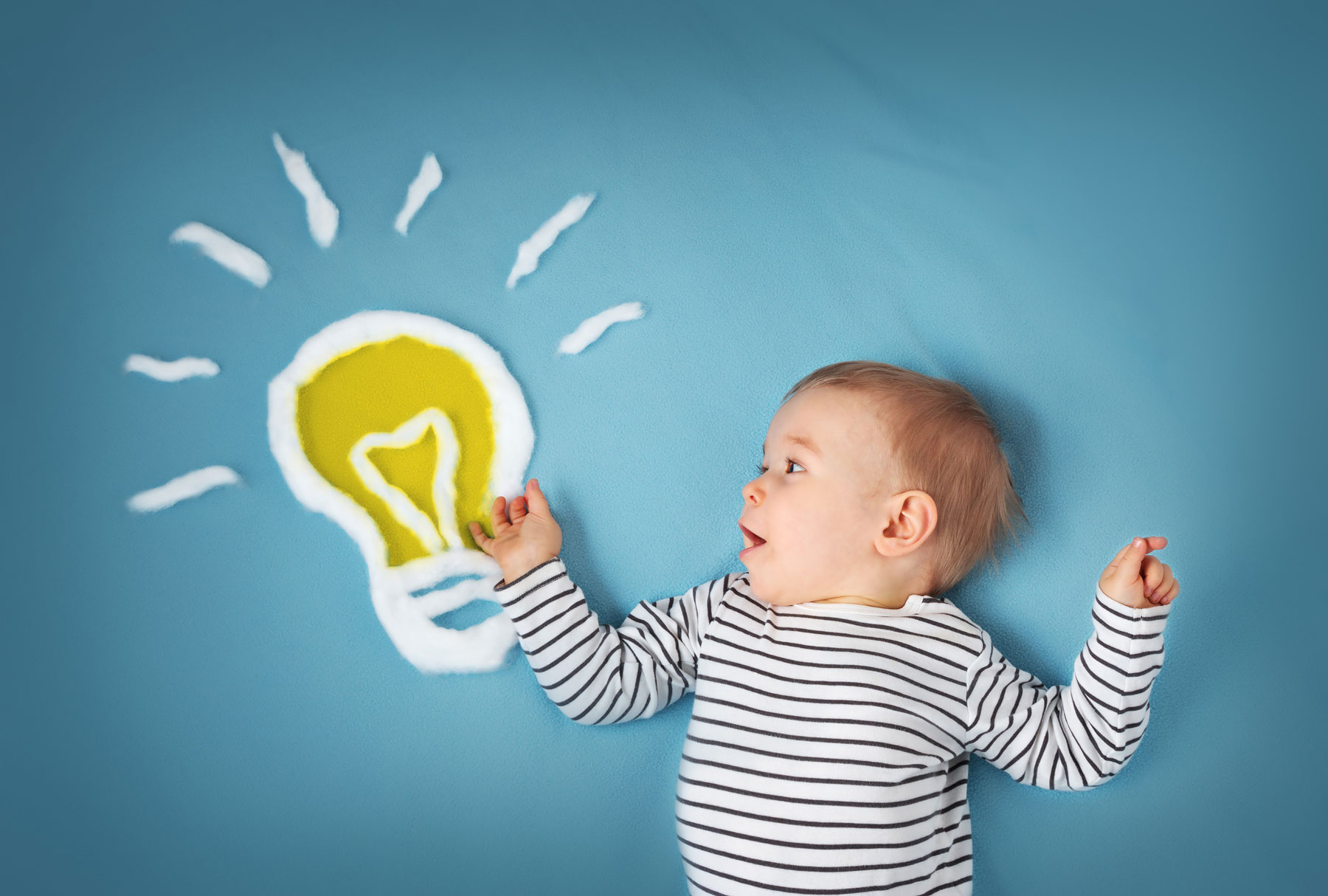 baby looking at light bulb sketch