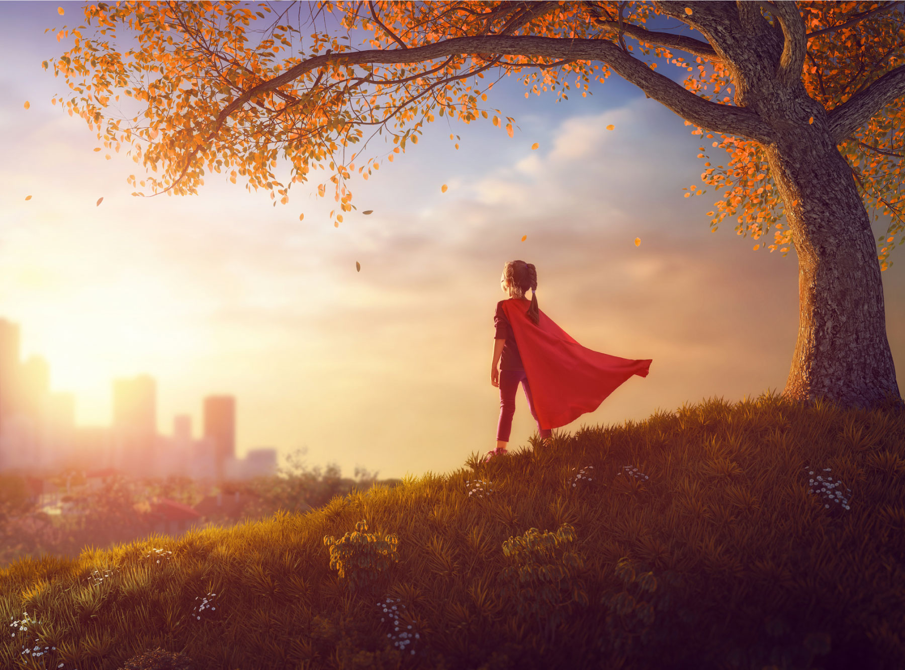 girl in superhero outfit looking out at cityscape, dreaming