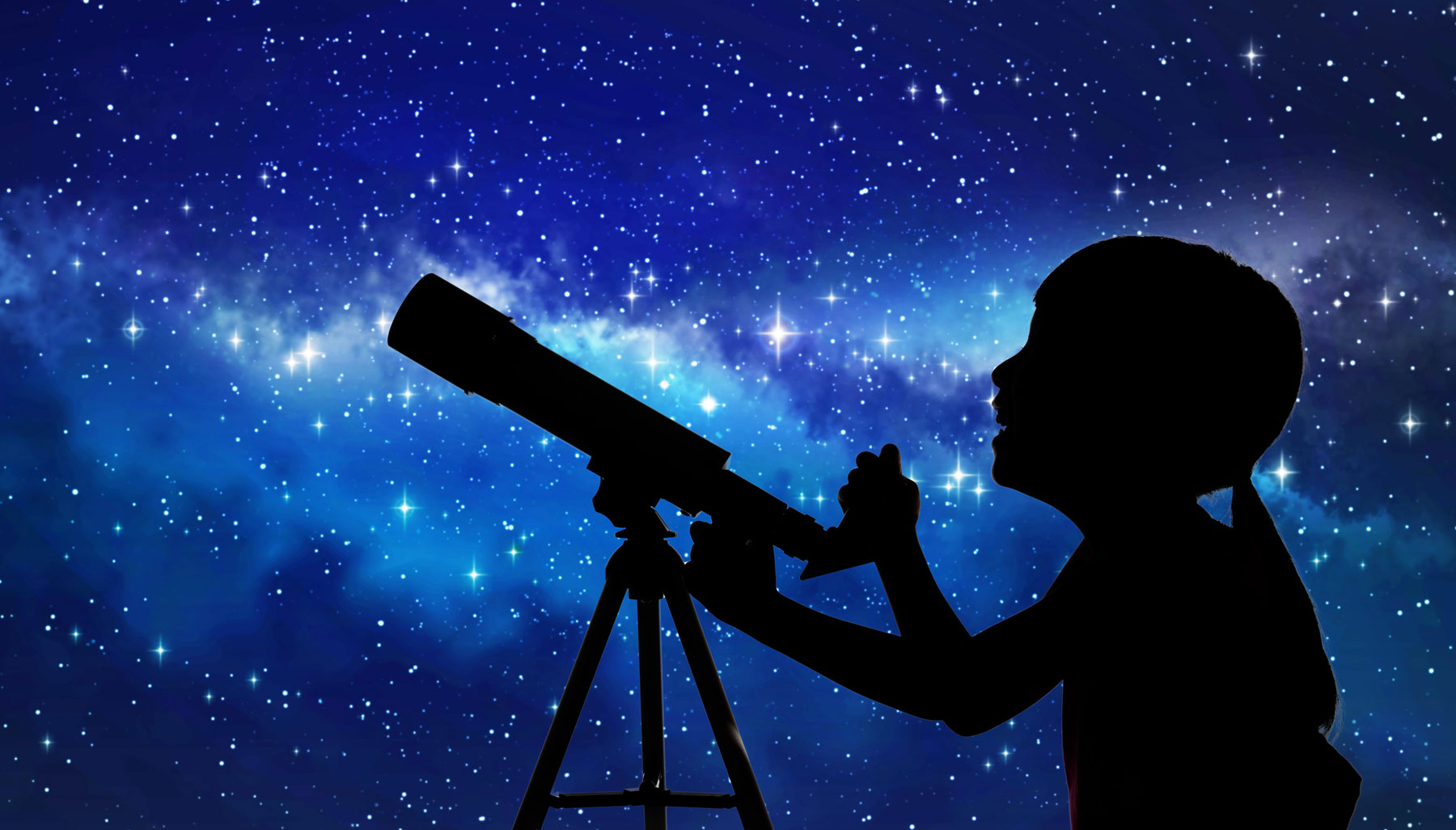 young girl with telescope looking at stars