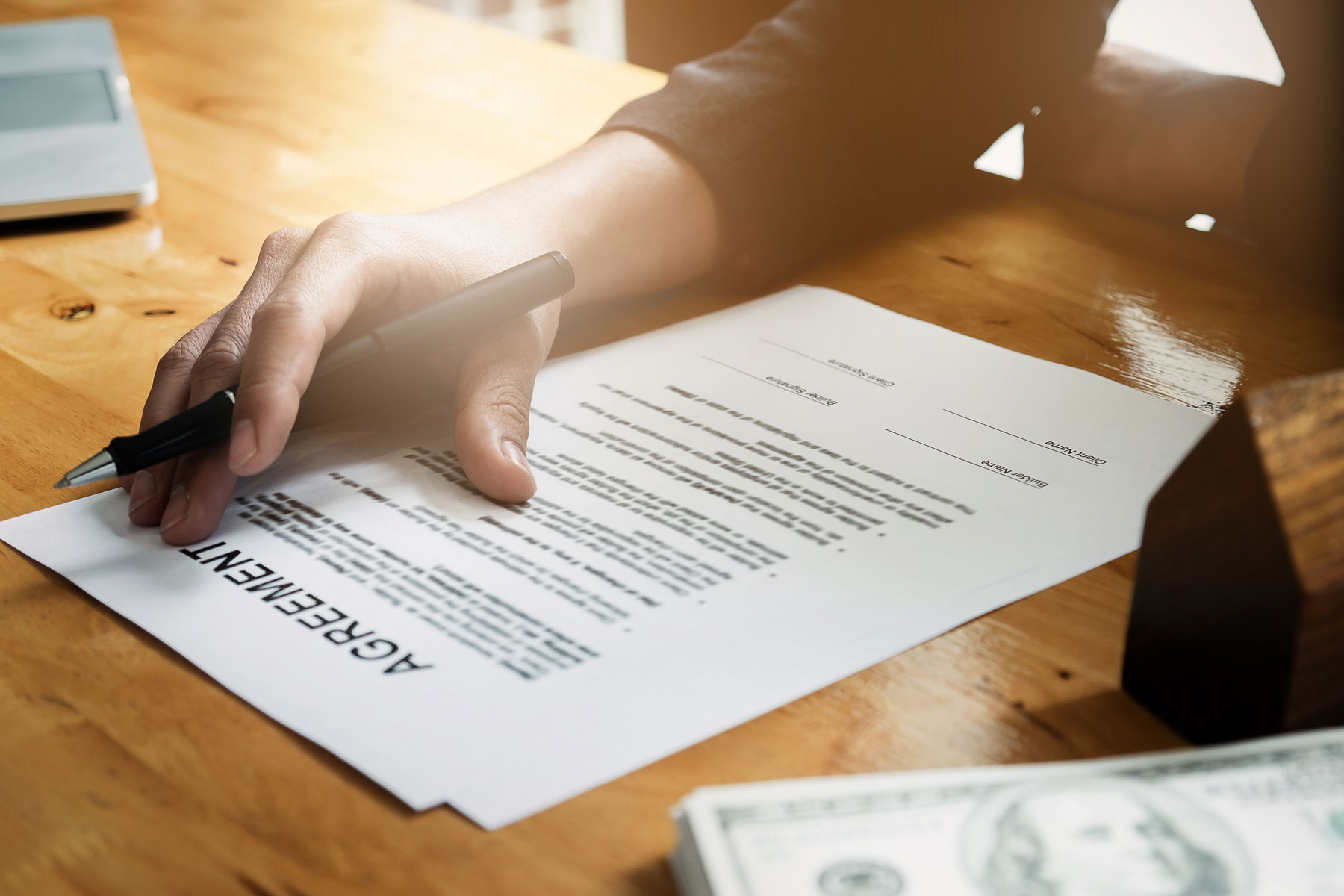 person presenting a contract agreement