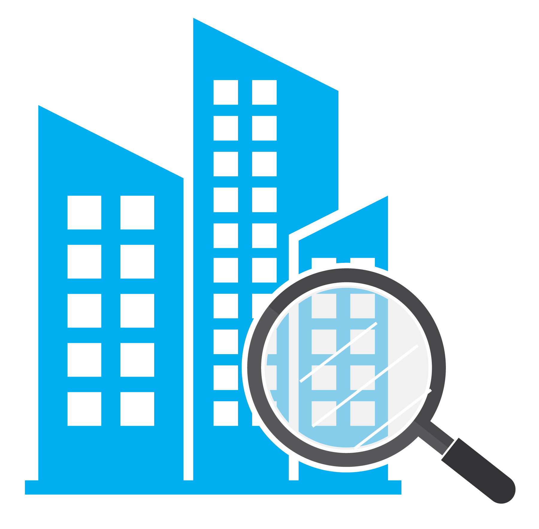 building icon with search magnifying glass