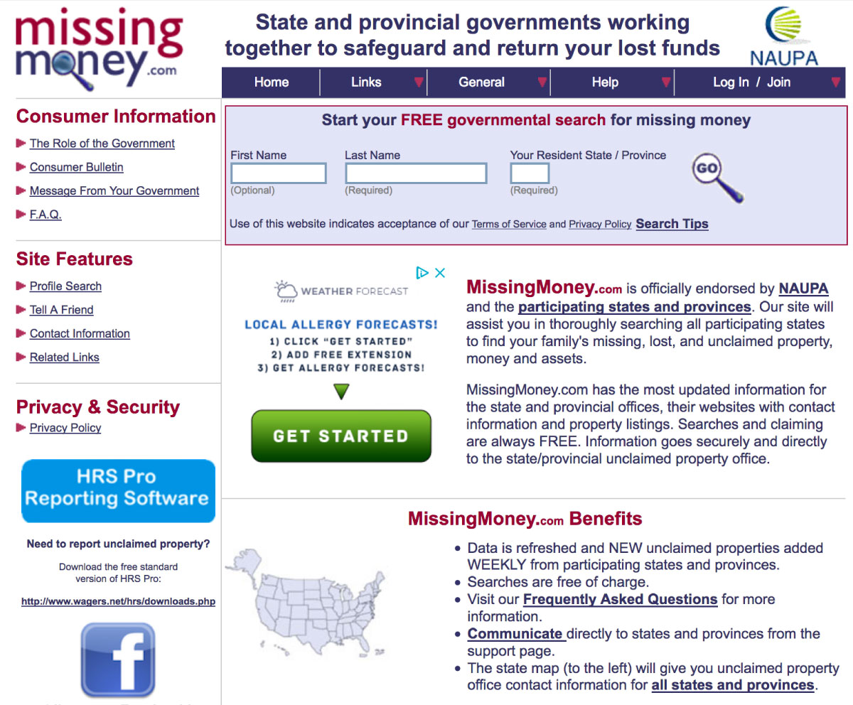 MissingMoney.com screen capture